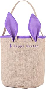 TRADE 1pcs Happy Easter Canvas Bunny Ears Bags Kids Gift Easter Basket Candy Cookie Gift Bags Blue Jute Color Purple Ear Pattern