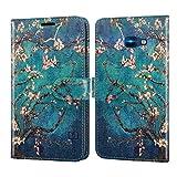 CoverON Schutzhülle für Samsung Galaxy J4 Plus, Galaxy J4 Core, Galaxy J4 Prime, RFID-blockierende Folio-PU-Leder-Handy-Tasche – Mandelblüte