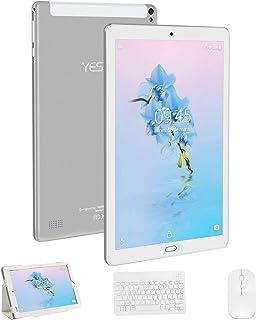 Tablet 10 Pulgadas YESTEL Android 8.0 Tablets con 3GB RAM & 32GB ROM y 4G LTE Dual SIM Call 5.0 MP + 8.0 MP HD la Cámara y 8000mAH-Plata