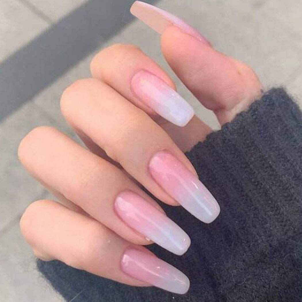 Shipping included High quality new Chicque Long Press on Nails Fake Square Gradie French Pink
