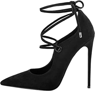 Womens Black Stiletto Pumps Pointed Toe Double Ankle Strap Heels Ladies Spring Summer Sandals