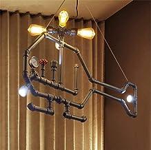WVWTWB نجفة مبتكرة طلاء السقف أنابيب الحديد E27 4 Tou مع اثنين من الثريا الكبيرة مصباح LED إضاءة المعدات الصناعية بقطر 45 ...