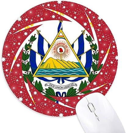 San Salvador El Salvador - Alfombrilla redonda de goma para mouse, diseño de emblema nacional