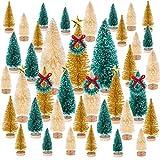 MELLIEX 47pcs Mini Árbol de Navidad, Pequeño Árbol de Navidad Artificial Sisal Árboles Adornos de Navidad Traje con Estrellas y Corona para la Decoración del Hogar, Bricolaje(Verde/Dorado/Blanco)