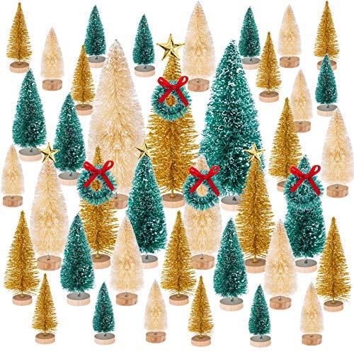 MELLIEX 47 Stück Mini Weihnachtsbaum Kit Künstlicher Miniatur Tannenbaum kleine Weihnachtsdeko Kommt mit Sternen und Kranz für Tischdeko, DIY, Schaufenster(Grün/Gold/Weiß)