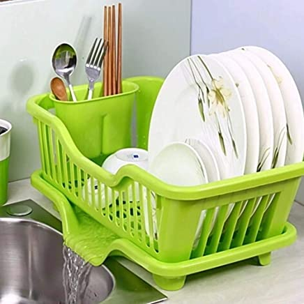 JRM's Dish Drainer Rack Crockery Cutlery Plate Holder Glass Utensils Storage Organizer (44X24X16cm) (Plastic)