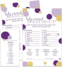 Purple and Gold Baby Animal Name Shower Game (25 Pack)