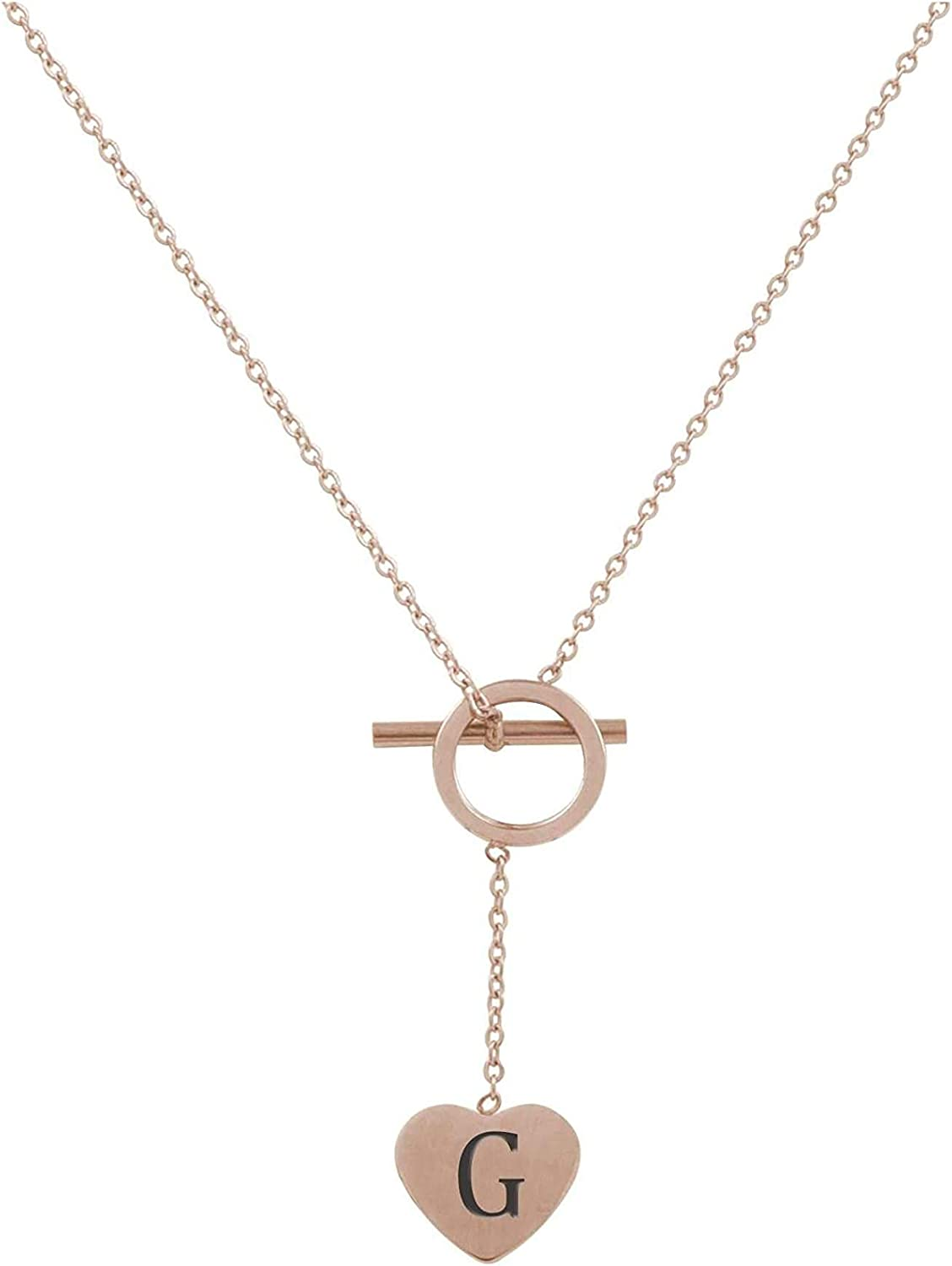 Pink Box Heart Lariat Initial Necklace G - Rose Gold