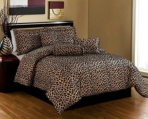Black / Brown Comforter Set Leopard Print Microfur Bed In A Bag Queen Size Bedding