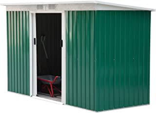 Godyluck 9' x 4' Outdoor Metal Garden Storage Shed with Double Sliding Doors and 2 Vents for Lighting and Airflow | Green & White