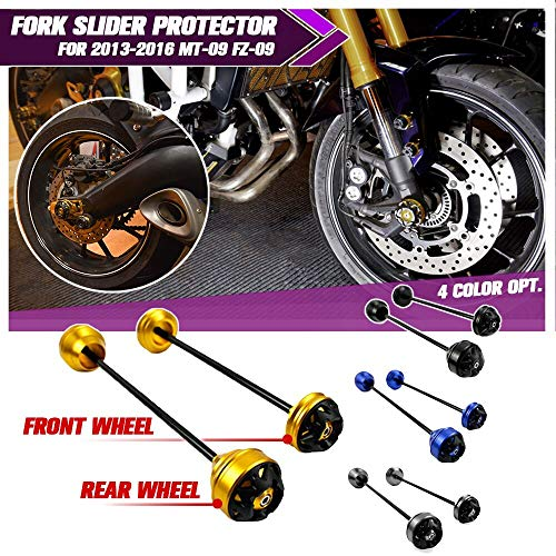 MT09 FZ09 Motorrad Vorne & Hinten CNC Radgabel Slider Protector for 2013-2016 Yamaha MT FZ 09 MT-09 FZ-09 2014 2015 (Schwarz)