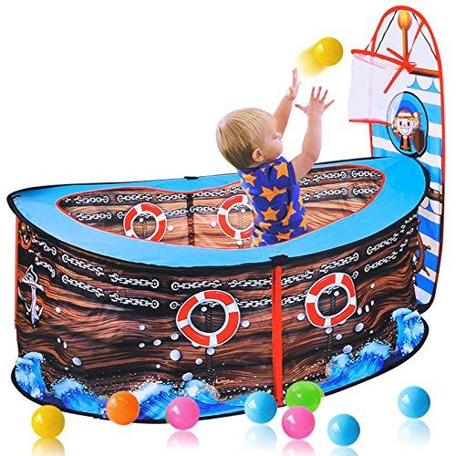 OldPAPA Kinder Spielen Zelt, Piratenschiff Spielen Zelt mit Basketballkorb faltbar Pop-up Spielen Zelt Spiel Spielzeug Pool Indoor Outdoor Garten Spielhaus Spiel Zaun