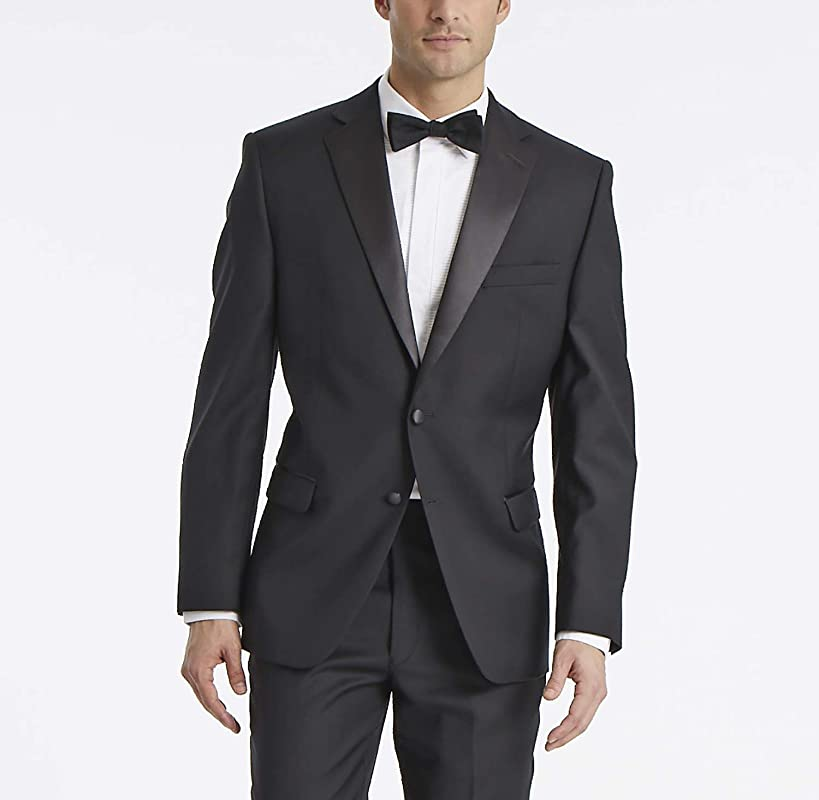 Calvin Klein Men's Modern Fit 100% Wool Tuxedo Suit Separate (Blazer and Pant)