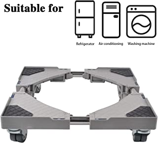 LUCKUP Multi-functional Movable Adjustable Base with 4 Locking Rubber Swivel Wheels Size Adjustable Universal Mobile Case Roller Dolly for Dryer, Washing Machine and Refrigerator,Grey …