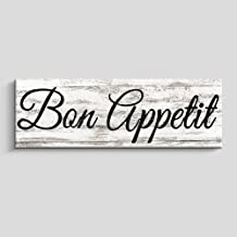 Rustic Kitchen Wall Decor, Farmhouse Wall Art, Kitchen Sign Home Decorations (6X17 INCH,Bon Appetit)