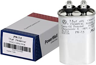 PowerWell 7.5 uf MFD 370 or 440 VAC Oval Run Capacitor PW-7.5 for Fan Motor Blower Condenser in Air Handler Straight Cool or Heat Pump Air Conditioner - Guaranteed to Last 5 Years