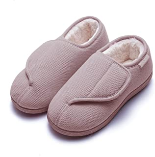 GaraTia Women`s Memory Foam Diabetic Slippers Furry No-Slip Arthritis Edema House Shoes