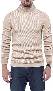 Bienwwow - Maglione da uomo a girocollo, a righe, vestibilità aderente, caldo e casual