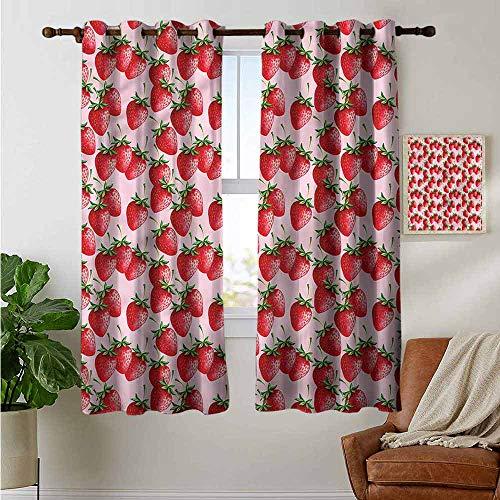 petpany Cortinas Opacas Color Rojo, con diseño de Frutas de Dibujos Animados, Fresas, Paneles aislantes térmicos para decoración del hogar, Cortinas para Ventana para Dormitorio