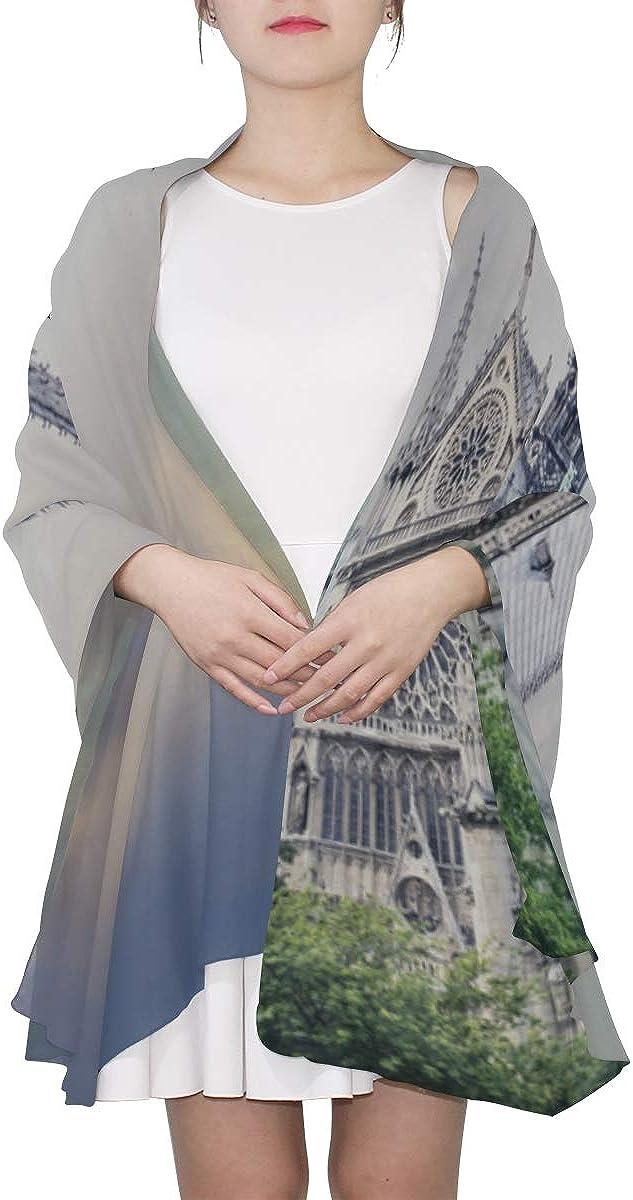 Women Scarfs Classic Church Notre Dame De Paris Fashion Scarf Scarf For Dresses For Women Lightweight Print Scarves Soft Scarfs For Women Modern Scarf