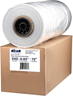 """Plasticplace.65 Mil Clear Garment Bags, 21""""x7""""x72"""",250Count"""