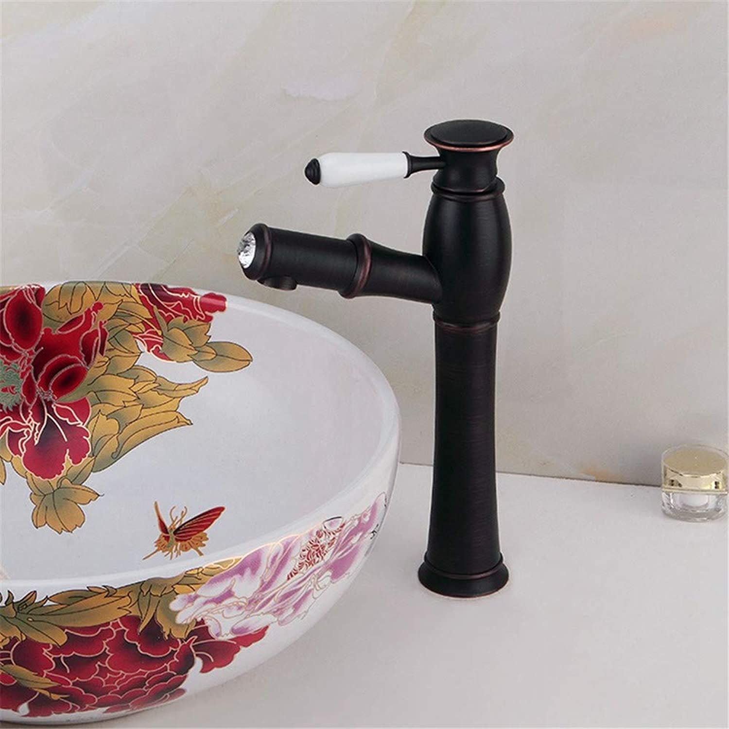 XPYFaucet Faucet Tap Taps All copper black pull hot and cold water basin single hole single handle telescopic