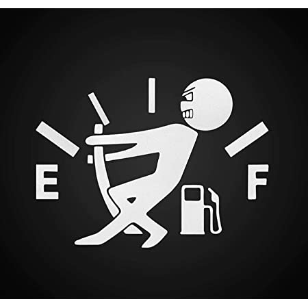 Car Fuel Cap Pointer Funny Black and White Sticker Full Reflective Decal Stiker