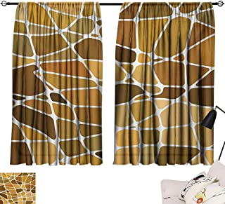 Blackout Window Curtain Panel Tan and Brown,Stained Glass Style Mosaic with Colorful and Abstract Pieces Fractal Pattern,Multicolor 72
