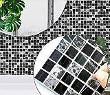 Wandfliesen Aufkleber, schwarzgraue Marmorstein-Effekt-Mosaik Fliesenaufkleber für die Badezimmer Küche, selbstklebende wasserdichte ölbeständige Wandkunstaufkleber 20 Stück (10 cm x 10 cm)