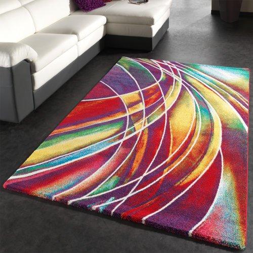 Paco Home Tappeto Moderno di Design Tappeto con Disegno Colorato Mix di Colori, Dimensione:120x170 cm