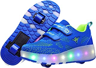 AIkuass Double Roller Shoes LED Light Up Retractable Skate Shoes for Girls Boys Kids with Wheels