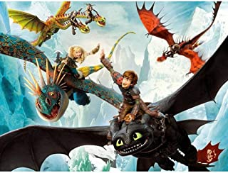 キャンバスアート壁ポスター 漫画映画どのようにゲームドラゴン 海报 绘画 帆布艺术 室内装饰 壁挂 墙壁海报 HD时尚海报