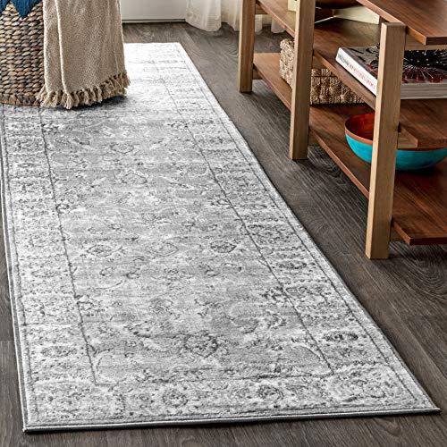 JONATHAN Y Moderner Perserteppich, Vintage, Hellgrau, 0,6 x 2,4 m, Läufer, Country, leicht zu reinigen, für Schlafzimmer, Küche, Wohnzimmer, fusselfrei (MDP107B-28)