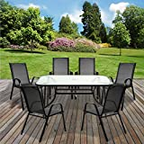 <span class='highlight'>Marko</span> Outdoor Grey Textoline Table & Chairs Set Outdoor Garden Patio Grey <span class='highlight'>Furniture</span> Glass Table Parasol Base (7PC Rectangular Table Set)