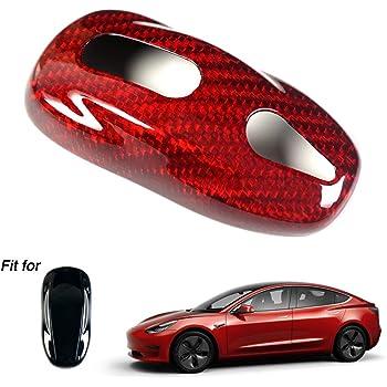 Topsmart Real Carbon Glass Carbon Fiber Key Case Cover Fob kevless for Tesla Model S