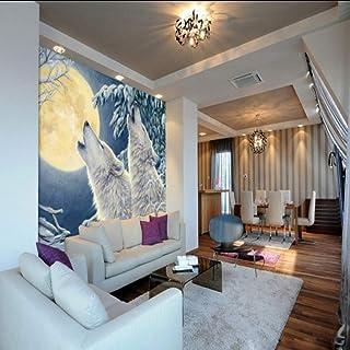 Xueshao カスタム壁紙カスタム冬の月光白いオオカミの壁紙リビングルームレストラン壁画油絵壁紙-280X200Cm