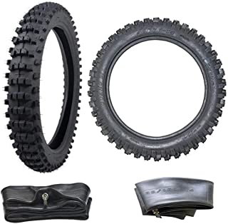 ZXTDR Front 70/100-17 and Rear 90/100-14 Tire and Inner Tube Set for Motorycle Trail Off Road Dirt Bike Motocross Pit