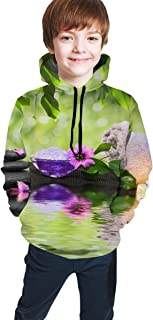Cyloten Kid's Sweatshirt Spa Stones Candles Hoodie Teen's Thicken Sportswear Fleece Hood for Fall-Winter