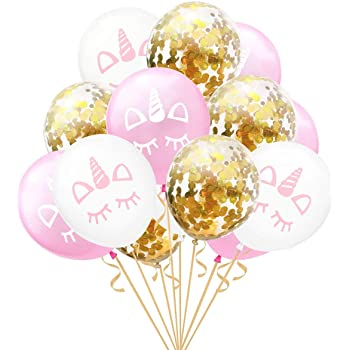 Party Propz Unicorn Balloons 15Pcs for Unicorn Birthday Decorations