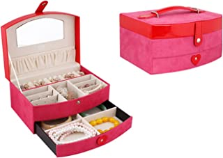 GIFT4U Elegant Two-Layer Lint+Leather Jewelry Box Organizer Case Storage with Lock Drawer Mirror Peach