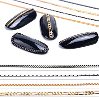 Nail Ornaments Chains 3D Nail Art Wraps Charms for Women Girl 4 Strips 100cm Gold & Black Metal Punk Pendant Nail Ornaments for Manicure Tips Nail Art Supplies for Fingernails & Toenails Decorations