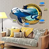 Pegatina de pared con ojo de buey delfín, papel pintado de delfín, extraíble debajo del mundo del océano, pegatinas de pared 3D, para dormitorio, habitación de niños