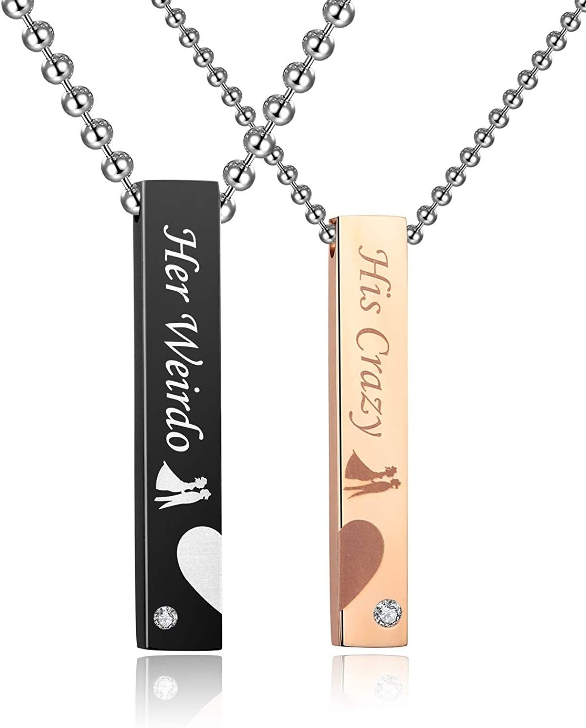 SunnyHouse Jewelry His & Hers Matching Set Stainless Steel His Crazy Her Weirdo Heart with Heart Couple Bar Pendant Necklace