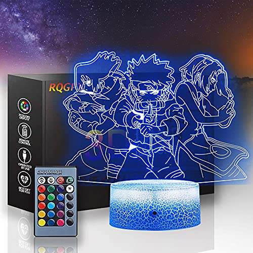 Team Kakashi - Lámpara de luz nocturna 3D, lámpara de ilusión óptica, 16 colores, regulable, con USB, control táctil con base de grietas, mando a distancia, para niños y niñas, regalos