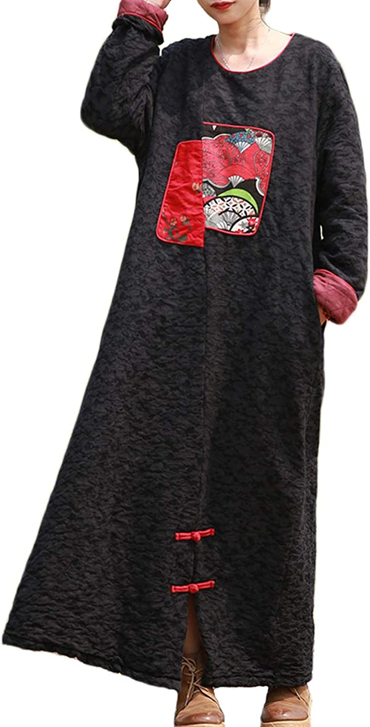 LZJN Women Thick Long Winter Dress Casual Loose Maxi Quilted Jacket Coat
