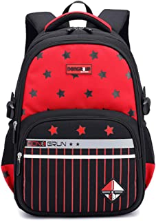 Primary School Backpack Ideal for 1-6 Grade School Students Boys Girls Daily Use and Outdoor Activities Red