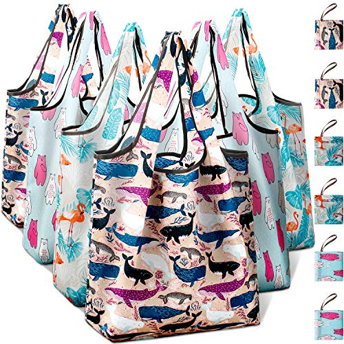 Reusable Grocery Shopping Bags Foldable with Pouch, Heavy Duty Nylon Cloth Reusable Bags for...
