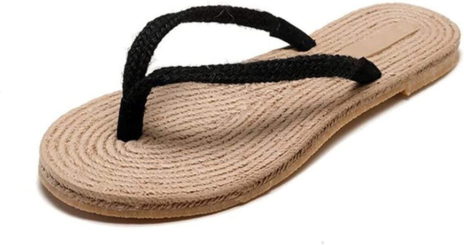 April With You Handmade Straw Slippers Women's Slippers Summer Hemp Rope Beach shoes Non-Slip Flat Open Toe Flip-Flops