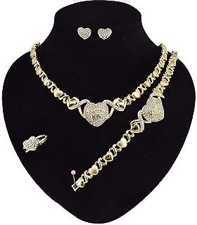 Giffor 003 هدايا عيد ميلاد المرأة سوار 14K الذهب مطلي مجموعات مجوهرات للنساء القلائد والأقراط والسوار والمجوهرات