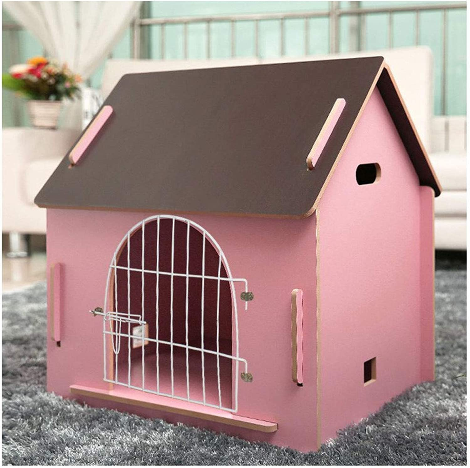 ATR Removable wooden hut, for pet has a home, color pink (multistyle and multisize optional) (color  door have, size  medium)